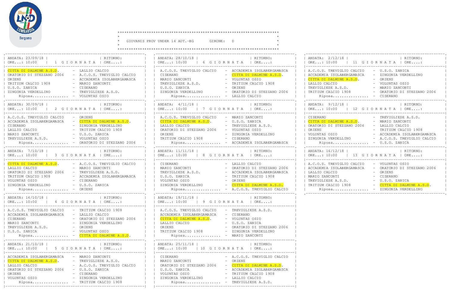 Calendario Giovanissimi Provinciali.U S Citta Di Dalmine
